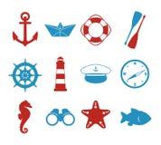 Η διανυσματική συλλογή εικονιδίων έθεσε με τις θαλάσσιες σκιαγραφίες του σκάφους εγγράφου, καπέλο πλοιάρχων, πυξίδα, άγκυρα, φάρο διανυσματική απεικόνιση
