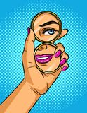 Η διανυσματική χρώματος λαϊκή απεικόνιση ύφους τέχνης κωμική ενός κοριτσιού κοιτάζει σε έναν καθρέφτη στοκ φωτογραφίες με δικαίωμα ελεύθερης χρήσης
