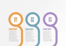 Η διανυσματική infographic επιχείρηση για την υπόδειξη ως προς το χρόνο με 3 βήματα ονομάζει το δαχτυλίδι κύκλων με το χρώμα κλίσ ελεύθερη απεικόνιση δικαιώματος