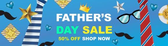 Η διανυσματικό αφίσα ή το έμβλημα προώθησης πώλησης πώλησης ημέρας πατέρων με το ανοικτό δώρο τυλίγει την προώθηση έννοιας εγγράφ απεικόνιση αποθεμάτων