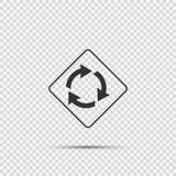 Η διασταύρωση κυκλικής κυκλοφορίας υπογράφει μπροστά στο διαφανές υπόβαθρο απεικόνιση αποθεμάτων