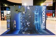 Η διαφήμιση της διακόσμησης για τον κινηματογράφο κάλεσε Rocketman και τις επιδείξεις στον κινηματογράφο για να προαγάγει τον κιν στοκ φωτογραφία με δικαίωμα ελεύθερης χρήσης