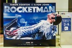 Η διαφήμιση της διακόσμησης για τον κινηματογράφο κάλεσε Rocketman και τις επιδείξεις στον κινηματογράφο για να προαγάγει τον κιν στοκ φωτογραφίες με δικαίωμα ελεύθερης χρήσης