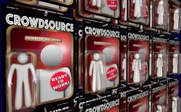 Η δράση Crowdsource λογαριάζει το εικονικό εργατικό δυναμικό τρισδιάστατο Illustra εργαζομένων Στοκ Φωτογραφίες