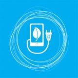 Η δύναμη eco δαπανών, usb καλώδιο συνδέεται με το τηλεφωνικό εικονίδιο σε ένα μπλε υπόβαθρο με τους αφηρημένους κύκλους γύρω από  Στοκ Φωτογραφίες