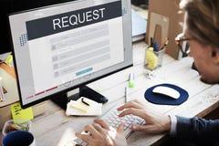 Η εγγραφή ιδιότητας μέλους αιτήματος ακολουθεί την έννοια Στοκ εικόνα με δικαίωμα ελεύθερης χρήσης