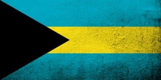 Η εθνική σημαία της Κοινοπολιτείας των Νήσων Μπαχάμες Ανασκόπηση Grunge απεικόνιση αποθεμάτων
