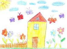 Η εικόνα του σχεδίου παιδιών ενός σπιτιού Στοκ εικόνα με δικαίωμα ελεύθερης χρήσης