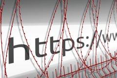 Η εικόνα του φραγμού διευθύνσεων του ιστοχώρου εμποδίζει το φράκτη με την οδοντωτή - καλώδιο - παρεμποδισμένη έννοια Διαδικτύου διανυσματική απεικόνιση