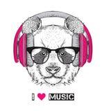 Η εικόνα του panda στα γυαλιά, ακουστικά και στο καπέλο χιπ-χοπ επίσης corel σύρετε το διάνυσμα απεικόνισης Στοκ Φωτογραφίες