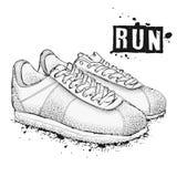 Η εικόνα των αθλητικών πάνινων παπουτσιών σε ένα άσπρο υπόβαθρο Αφήστε ` s να πάει! RU απεικόνιση αποθεμάτων