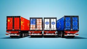 Η εισαγωγή και η εξαγωγή των εμπορευμάτων από τα εμπορευματοκιβώτια στα ρυμουλκά των χωρών του κόσμου τρισδιάστατου δίνουν στο μπ ελεύθερη απεικόνιση δικαιώματος