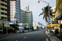 η δεκαετία του '50 Collins Ave, Μαϊάμι Μπιτς, ΛΦ Στοκ Φωτογραφία