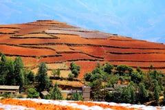 Η εκθαμβωτική κόκκινη εδαφολογική φυσική περιοχή Dongchuan στοκ φωτογραφίες με δικαίωμα ελεύθερης χρήσης