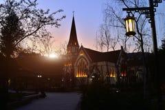 Η εκκλησία στο ηλιοβασίλεμα Στοκ Φωτογραφία