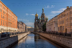 Η εκκλησία Savior ανέτρεψε το αίμα, μια κύριες θέες Αγία Πετρούπολη, Ρωσία Αυτό στηρίχτηκε στην περιοχή όπου ο τσάρος Αλέξανδρος  Στοκ εικόνες με δικαίωμα ελεύθερης χρήσης