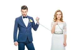 Η εκμετάλλευση νεόνυμφων συγκλόνισε τη νέα νύφη στην αλυσίδα Στοκ Φωτογραφίες