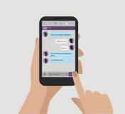 η εκμετάλλευση χεριών τραπεζών ανασκόπησης σημειώνει το smartphone Μήνυμα συνομιλίας Διανυσματική έννοια στοκ φωτογραφία