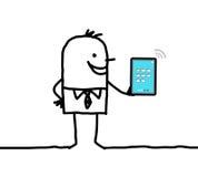 Η εκμετάλλευση επιχειρηματιών κινούμενων σχεδίων σύνδεσε την ψηφιακή ταμπλέτα ελεύθερη απεικόνιση δικαιώματος
