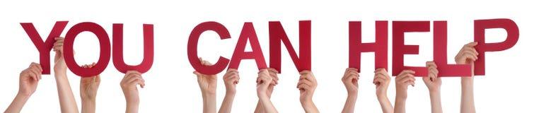 Η εκμετάλλευση το κόκκινο ευθύ Word χεριών εσείς μπορεί να βοηθήσει Στοκ Εικόνα