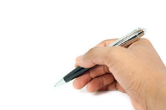 η εκμετάλλευση χεριών ανασκόπησης που απομονώνεται αντιτίθεται λευκό πεννών Στοκ εικόνα με δικαίωμα ελεύθερης χρήσης