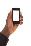 η εκμετάλλευση χεριών τραπεζών ανασκόπησης σημειώνει το smartphone Στοκ εικόνα με δικαίωμα ελεύθερης χρήσης