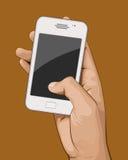 η εκμετάλλευση χεριών τραπεζών ανασκόπησης σημειώνει το smartphone Στοκ εικόνες με δικαίωμα ελεύθερης χρήσης