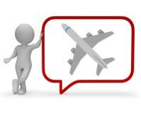 Η λεκτική φυσαλίδα αεροπλάνων παρουσιάζει ότι εξηγήστε τη μεταφορά και την ταξιδιωτική τρισδιάστατη απόδοση Στοκ φωτογραφία με δικαίωμα ελεύθερης χρήσης