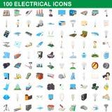 100 ηλεκτρικά εικονίδια καθορισμένα, ύφος κινούμενων σχεδίων Στοκ φωτογραφία με δικαίωμα ελεύθερης χρήσης