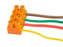 Ηλεκτρικά καλώδια με τα τερματικά Στοκ εικόνες με δικαίωμα ελεύθερης χρήσης