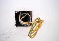 Ηλεκτρικά καλώδια στον τοίχο στοκ φωτογραφίες με δικαίωμα ελεύθερης χρήσης