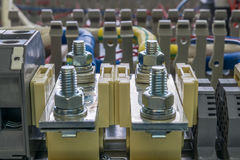 Ηλεκτρικά feedthrough τερματικά, καλώδια και καλώδια στο artboa Στοκ Φωτογραφίες
