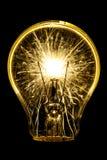 Ηλεκτρικά sparklers στην ιδέα βολβών Στοκ Φωτογραφία