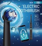 Ηλεκτρικές αγγελίες οδοντοβουρτσών Διανυσματική τρισδιάστατη απεικόνιση με τη δονούμενη βούρτσα και κινητό οδοντικό app στην οθόν Στοκ Εικόνες