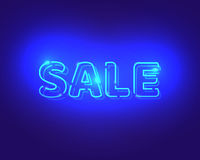 Ηλεκτρικές επιστολές νέου πώλησης μπλε σχέδιο διαφήμισης Στοκ Εικόνα