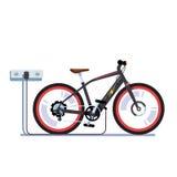 Ηλεκτρικές μπαταρίες φόρτισης ποδηλάτων με την έξοδο ελεύθερη απεικόνιση δικαιώματος