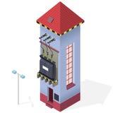 Ηλεκτρικές πληροφορίες οικοδόμησης μετασχηματιστών isometric γραφικές Υψηλής τάσεως σταθμός παραγωγής ηλεκτρικού ρεύματος ελεύθερη απεικόνιση δικαιώματος