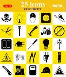 Ηλεκτρική ενέργεια 25 εικονίδια που τίθενται για τον Ιστό και κινητά Στοκ φωτογραφίες με δικαίωμα ελεύθερης χρήσης