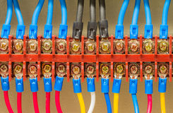 Ηλεκτρική καλωδίωση κινηματογραφήσεων σε πρώτο πλάνο Στοκ Φωτογραφίες