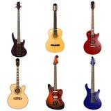Ηλεκτρική κιθάρα βράχου και ακουστική κιθάρα στο χρώμα Στοκ Φωτογραφίες