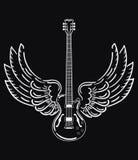 Ηλεκτρική κιθάρα με τα φτερά Τυποποιημένη ηλεκτρική κιθάρα με τα φτερά αγγέλου Γραπτή απεικόνιση ενός μουσικού Στοκ Φωτογραφίες