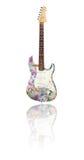 Ηλεκτρική κιθάρα την αντανάκλαση που καλύπτεται με με τα ευρώ Στοκ Εικόνα