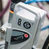 Ηλεκτρική κινηματογράφηση σε πρώτο πλάνο μηχανών ποδηλάτων Στοκ φωτογραφία με δικαίωμα ελεύθερης χρήσης