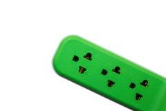 ηλεκτρική πράσινη υποδοχή δύο ισχύος εξόδου τοίχος Στοκ Εικόνα