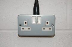 Ηλεκτρική υποδοχή βρετανικών κεντρικών αγωγών, δίδυμο, βιομηχανικός τύπος μετάλλων Στοκ Εικόνες
