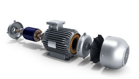 Ηλεκτρικός κινητήρας στην αποσυντεθειμένη κρατική τρισδιάστατη απεικόνιση σε ένα λευκό Στοκ Εικόνα