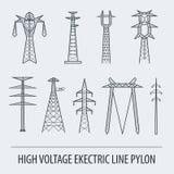 Ηλεκτρικός πυλώνας γραμμών υψηλής τάσης Καθορισμένος κατάλληλος εικονιδίων για ελεύθερη απεικόνιση δικαιώματος