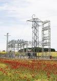 Ηλεκτρικός σταθμός με τις παπαρούνες Στοκ Εικόνες