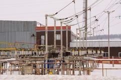 Ηλεκτρικός σταθμός με τους μετασχηματιστές Στοκ Εικόνες