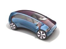 Ηλεκτρικό αυτοκίνητο έννοιας στην ηλιακή μπαταρία τρισδιάστατη απόδοση Στοκ Εικόνα